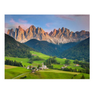 Santa Maddelena and The Dolomites in Val di Funes Postcard