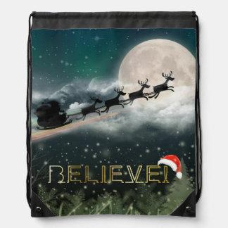 Santa Midnight Ride Christmas Drawstring Backpack