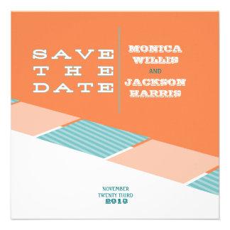 Santa Monica Save the Date Orange Crush Personalized Invitations