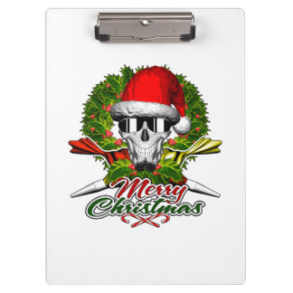Santa Pastry Chef Skull: Merry Christmas Clipboard