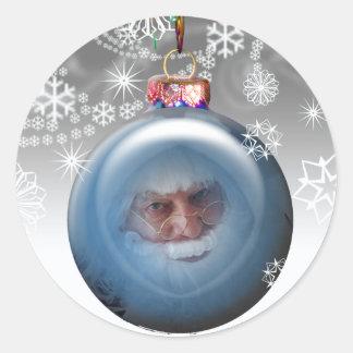 Santa Photo Ornament Personalizable Christmas Round Sticker