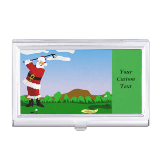 Santa Playing Golf Business Card Case