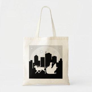 Santa Sled On City Street Tote Bag