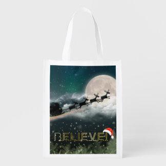 Santa Sleigh Reindeer Christmas Reusable Bag
