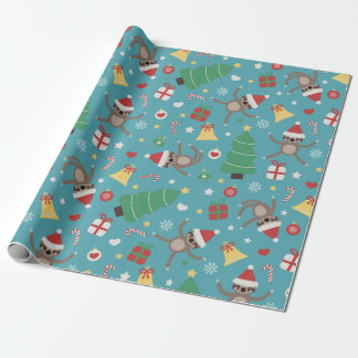 Santa Sloths - Cute Christmas Pattern Wrapping Paper