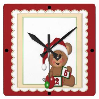 Santa Teddy Bear Wallclock