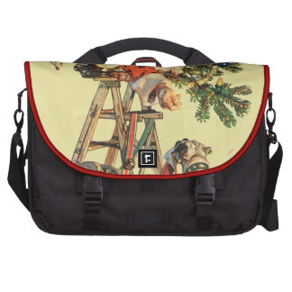 Santa Up a Ladder Bags For Laptop