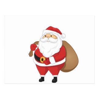 Santa With Bag Of Presents Postcard