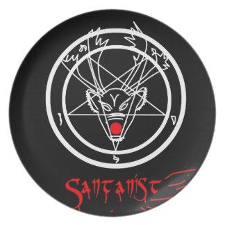 Santanist Pentagram Christmas Design Plate
