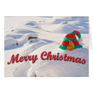 Santa's Elf Hat On A Snow Drift Photograph Card