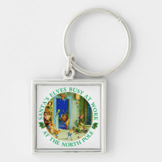 Santa's Elves Busy Working at his Workshop. Silver-Colored Square Key Ring