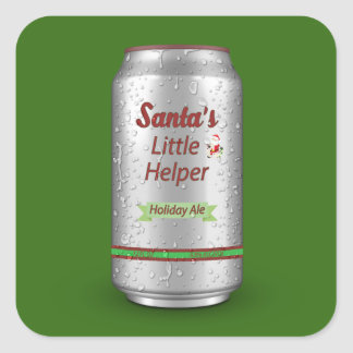 Santa's Little Helper Beer Can Square Sticker
