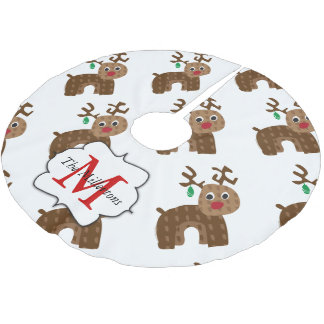 Santa's Reindeer Brushed Polyester Tree Skirt