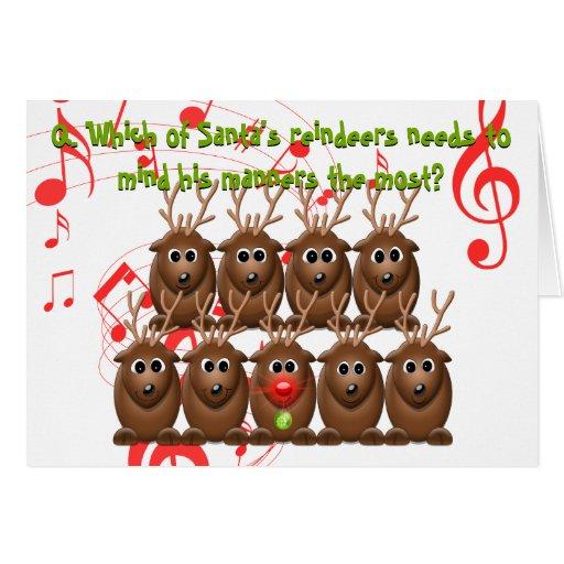 Santa 39 s reindeer funny christmas greeting card zazzle for Funny reindeer christmas cards
