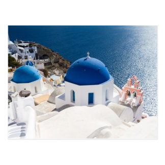Santorini - Blue domed church at Oia postcard