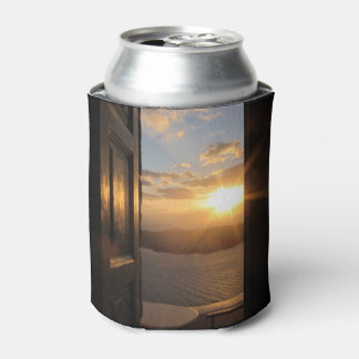 Santorini sunset through door can cooler
