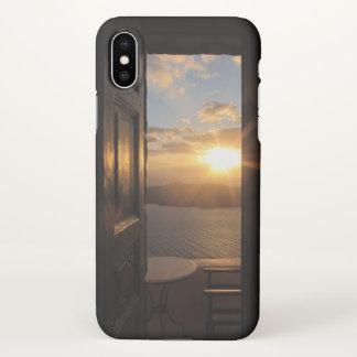 Santorini sunset through door iPhone x case
