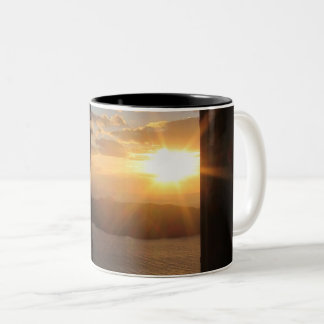 Santorini sunset through door Two-Tone coffee mug