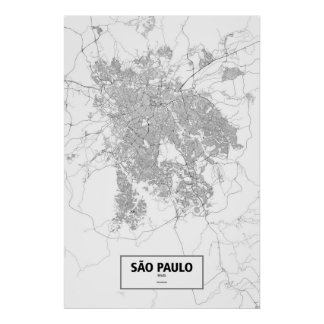 Sao Paulo, Brazil (black on white) Poster