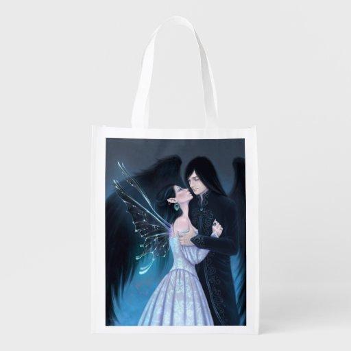 Sapphire Fairy & Angel Art Reusable Grocery Bag Market Totes