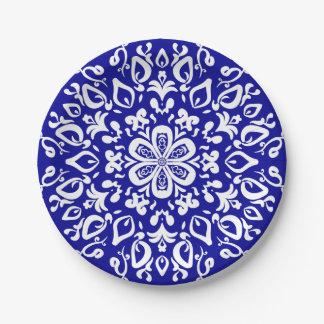 Sapphire Mandala Paper Plate