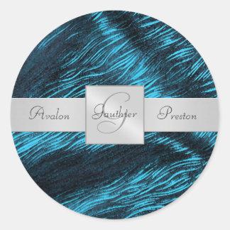 Sapphire Silk Monogram Wedding Sticker