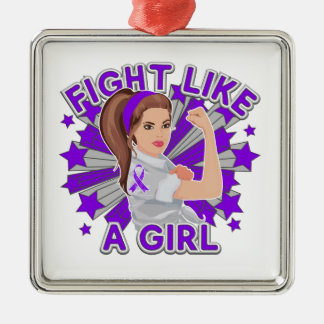 Sarcoidosis Modern Rosie Fight Like a Girl Silver-Colored Square Decoration