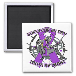 Sarcoidosis Survivor By Day Ninja By Night Square Magnet