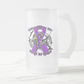 Sarcoidosis Survivor By Day Ninja By Night Frosted Glass Mug