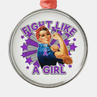 Sarcoidosis Vintage Rosie Fight Like A Girl Silver-Colored Round Decoration
