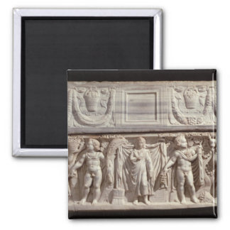 Sarcophagus depicting the deceased square magnet