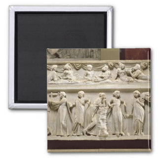 Sarcophagus of the Muses, Roman (marble) Square Magnet