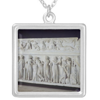 Sarcophagus with frieze of the Nine Muses Silver Plated Necklace