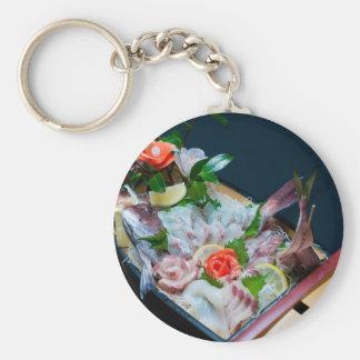 Sashimi in Japan, Japanese Cuisine Basic Round Button Key Ring