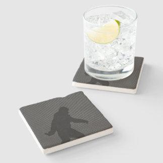 Sasquatch Silhouette on Carbon Fiber decor Stone Coaster
