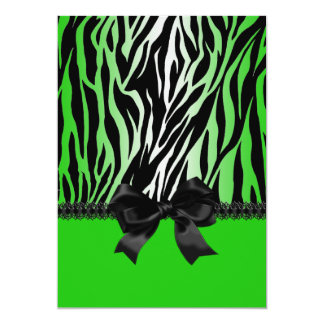 Sassy Green Zebra Invitation with Bow