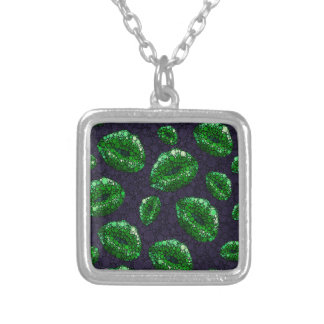 Sassy Lips Abstract Square Pendant Necklace