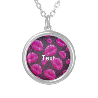 Sassy Lips Abstract Round Pendant Necklace