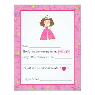 Sassy Princess Fill-in-the-Blanks Thank You Cards Personalized Announcements