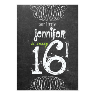 Sassy Sweet Sixteen Chalkboard Invitation
