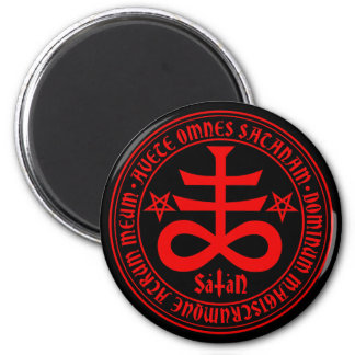 Satanic Cross with Hail Satan Text and Pentagrams Magnet