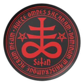 Satanic Cross with Hail Satan Text and Pentagrams Party Plate