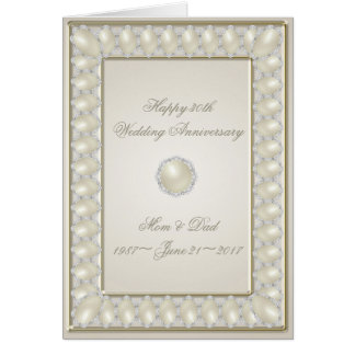 Satin Pearl 30th Wedding Anniversary Greeting Card