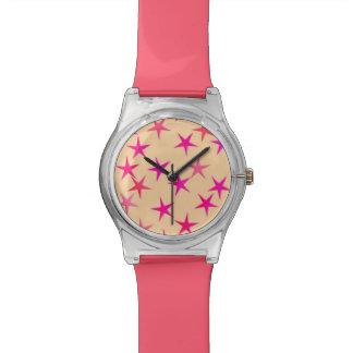 Satin stars, shades of pink on peach watch