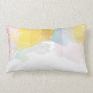 Saturated Stripes watercolor Lumbar Cushion