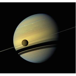 Saturn & Titan Cassini Space Photo Acrylic Cut Outs