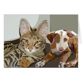 Savannah Cat and puppy notecard & envelope