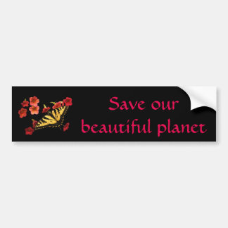 Save Our Planet Butterfly Flowers Bumper Sticker