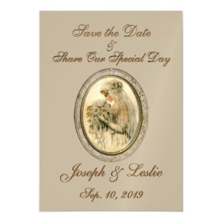 Save the Date Antique Bride Magnetic Invitations