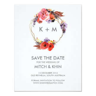 Save the Date Autumn Floral Wreath Card